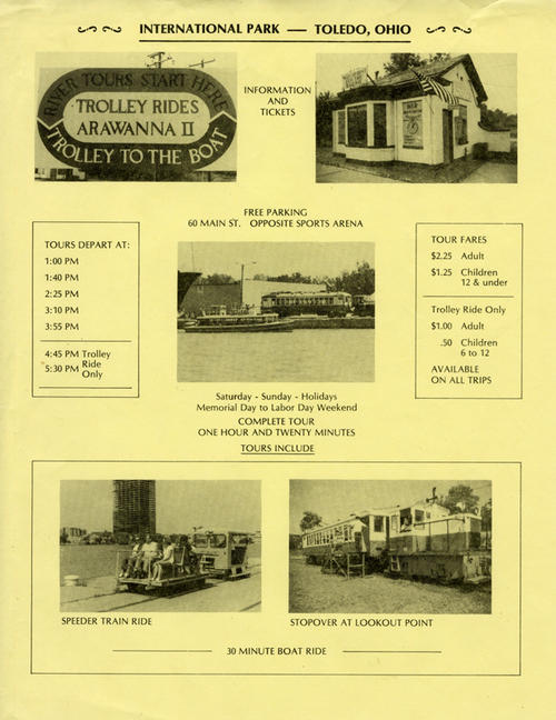 Flyer showing the Waterfront Electric Railway with the Owens-Illinois building under construction
