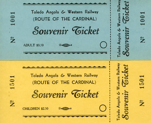 Souvenir tickets to ride the Toledo Angola Western Railway