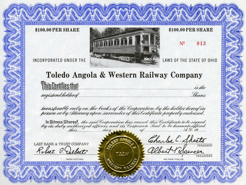 Toledo Angola Western Railway stock certificates worth $100 per share