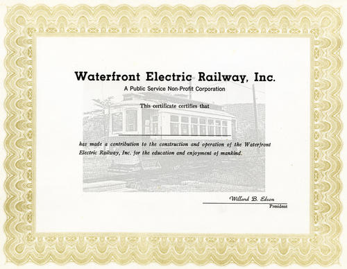 A donation certificate given out in appreciation for support of the Waterfront Electric Railway