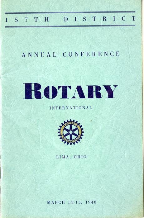 This pamphlet informs the reader of the events at the 157th district annual rotary conference on March 14 and 15 in  1948. This pamphlet is the oldest, but is not the only one available in the archives concerning the annual conferences.