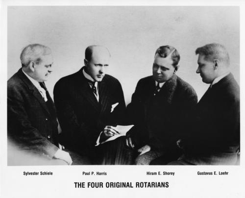 A photo of the four founding Rotarians.  Duplicate photo of the original. Duplicate photo of the original