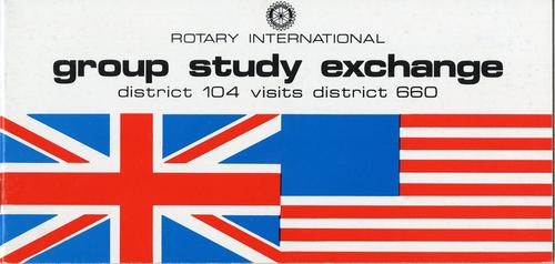 This booklet provides details about the Rotary International Group Study Exchange with district 660 which includes Toledo.  This is just the cover, the booklet is 19 pages long and can be seen in the Canaday Center.