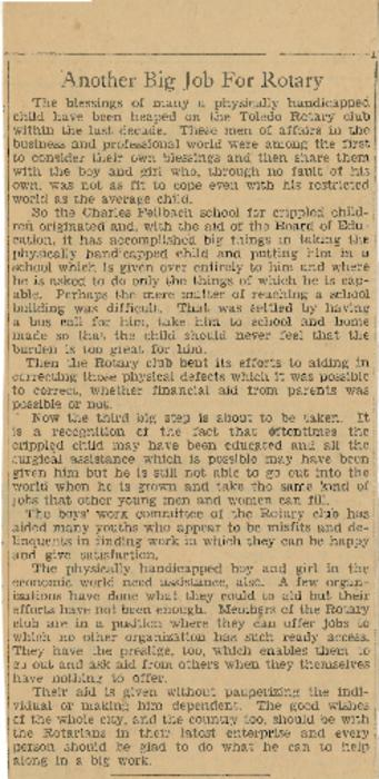 A news clipping detailing the Rotary's involvement with the Society for Crippled Children.  News clipping
