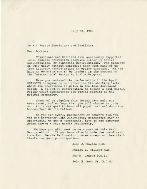 "This letter was sent out to Rotary physicians and dentists asking for a donation of $1,000 to help ""demonstrate the strong concern of the medical community"".  Original letter. Handwritten list of intended recipients also accompanies draft in folder."