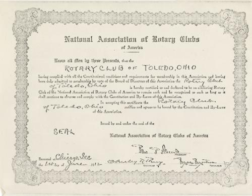This certificate was presented to the Rotary Club of Toledo signifying that they have complied with all the Constitutional conditions for membership in the national association of Rotary clubs.  Photocopy of the original. Original seal is not present.