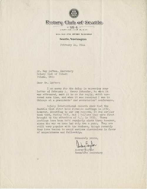 Letter to Ray Loftus, secretary of the Rotary Club of Toledo concerning 'fireside meetings' of members.  This is the original letter with a hand signed document.