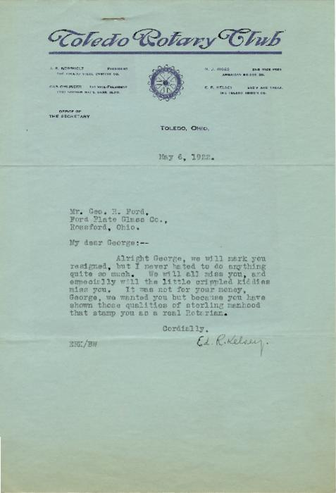 Letter acknowledging the resignation of George R. Ford - Toledo Rotarian.  From years 1922-1947
