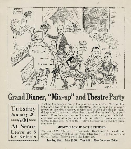 Flyer for the Toledo Rotarian Club's grand dinner and mix-up.  Glued to the remnants of an old scrapbook.