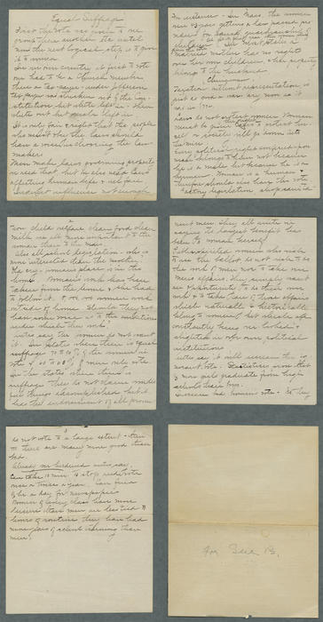 "A speech note titled ""Equal Suffrage."" There is a note saying ""For Sue B."" Written with pencil."