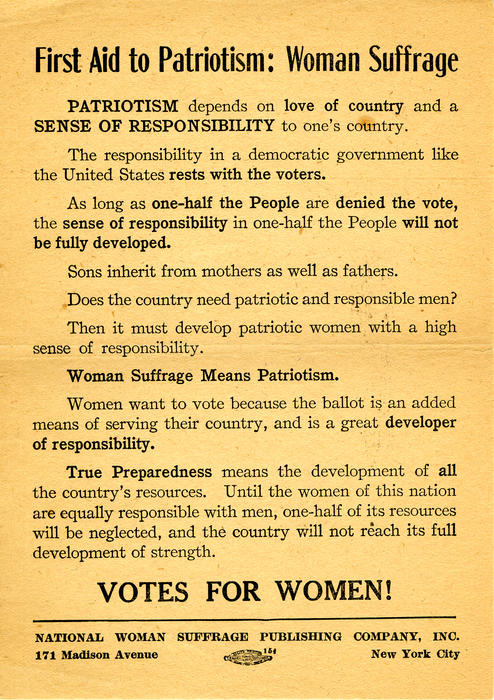 """First Aid to Patriotism: Women Suffrage"" A flyer on promoting woman suffrage under patriotism."""
