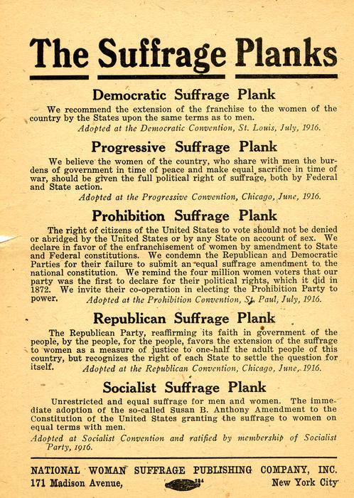 """The Suffrage Planks"" Flyer with multiple party perspectives on suffrage"""