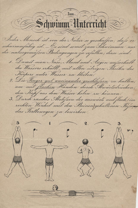 Instructions for swimming, in German. The Turners encouraged fitness through club programming that relied heavily on sports.