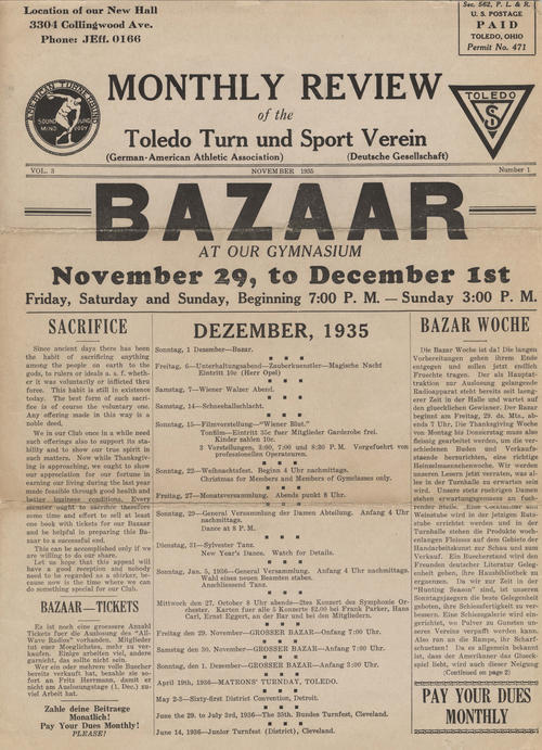 Newsletter of the German-American Athletic Association (volume 3, number 1), published in both English and German. This November 1935 issue proudly announces the new location of the Turners at 3304 Collingwood Avenue.