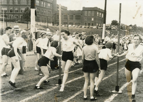 Photograph from the 1938 Turnfest held at Libbey High School.