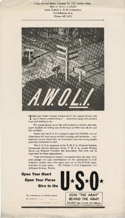 Ad from the Toledo U.S.O. asking for donations to help build day camps for men returning from war.