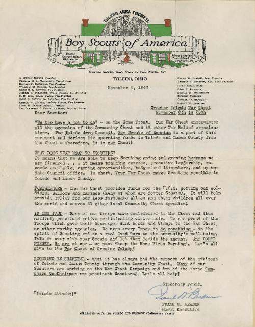 Letter to the Boy Scouts of America making the connection from local Toledo War Chest to the larger U.S.O and their need that exists
