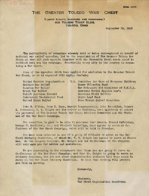 Drafted and unsigned letter that would have been sent out to members of local groups connected to the Toledo War Chest advising them that they have been selected to sit on the organization's' war chest committee