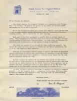 Toledo Society for Crippled Children Letter