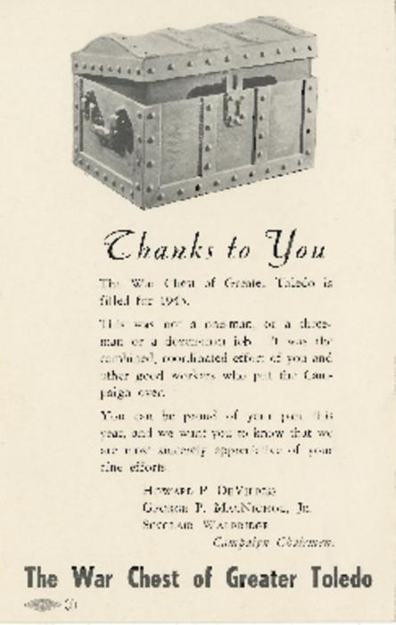 Postcard announcing the news that the Toledo War Chest reached its goal for 1943