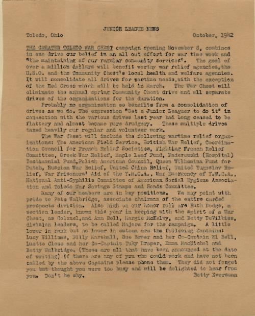 Letter about the Junior League campaign as part of The Greater Toledo War Chest