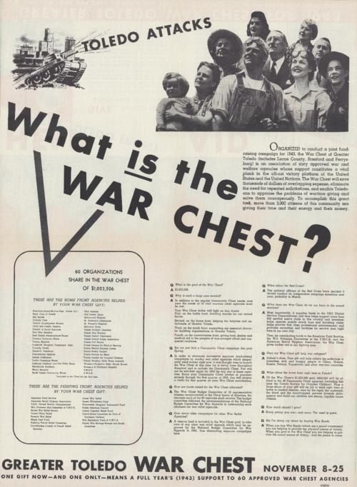 Front of the poster with answers to some frequent questions about the goal of the Greater Toledo War Chest.