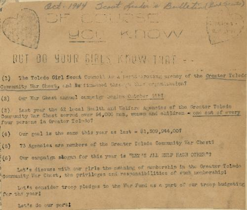 Bulletin to Girl Scout leaders encouraging support for the Greater Toledo War Chest. This also provides some general facts about goals and the war chest.