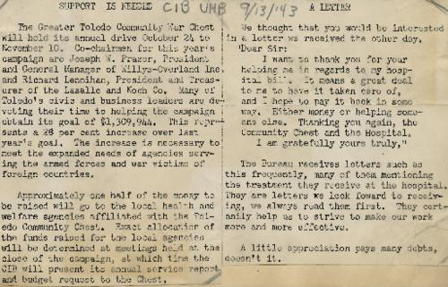 Letter announcing the 1943 funding drive to help support the Toledo War Chest.