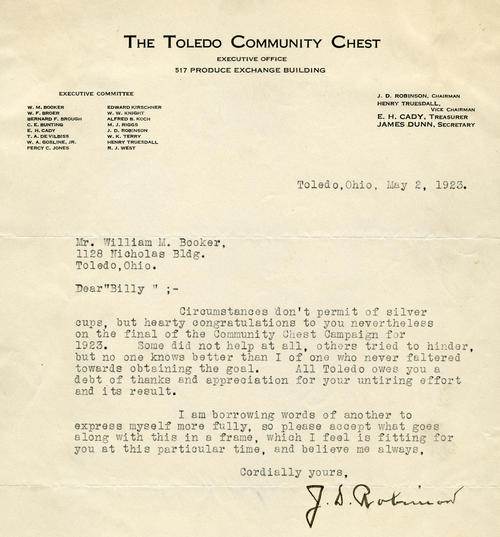 A letter to Booker from Robinson congratulating Booker on a successful 1923 campaign
