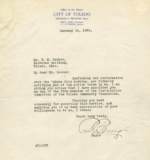 A letter from Mayor Brough, appointing Booker to the Toledo Community Foundation's Distribution Committee.