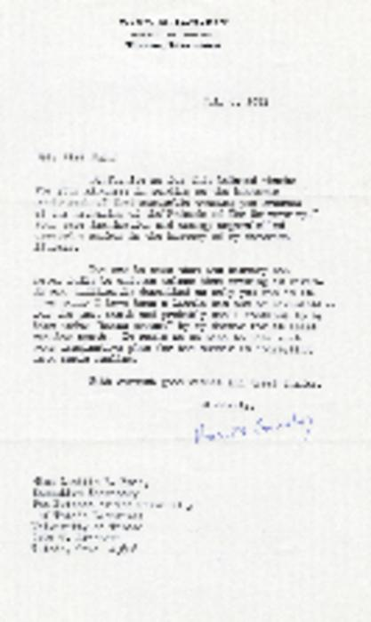 Canaday's letter to Lucille Emch about received photo of the Friends of the Library meeting