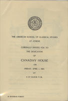 Canaday House dedication program
