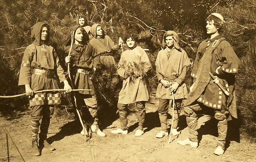 "Photographs of groups of actors taken for ""As You Like It."" Directed by Katherine Tingley and performed by members of the Universal Brotherhood and Theosophical Society in the Greek Theater in Point Loma, California."