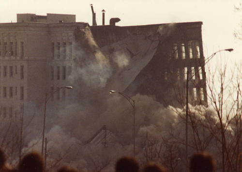 Demolition of the Wyllis-Overland Administration Building, August 12, 1979: During demolition