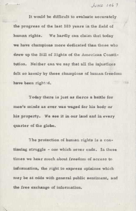 Speech given by William Carlson giving his opinion on the role of universities and educators in promoting and defending civil rights, and assisting those whose civil rights are threatened