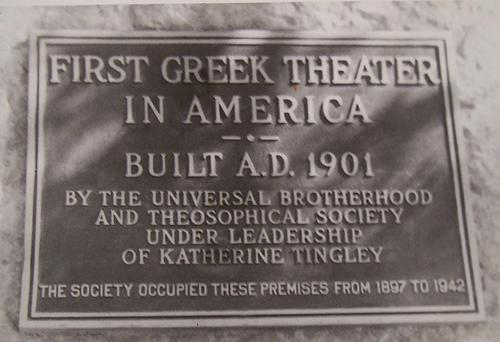 Plaque commemorating the construction of the Greek Theater in 1901.