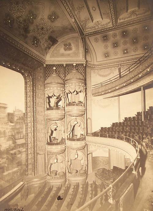 Photos of the interior of the Isis Theater. These images are damaged.