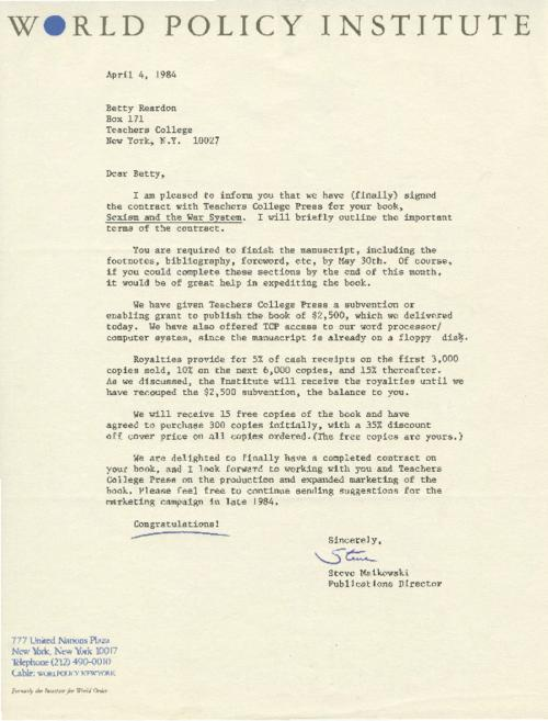 "In this letter, Steve Maikowski informs Betty Reardon about a signed contract her  book, ""Sexism and the War System"""