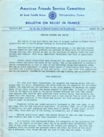 American Friends Service Committee Bulletin on Relief in France #45, August 20, 1942