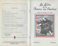 La Lettre de la France au Combat, vol. III, no. 7, August, 1943