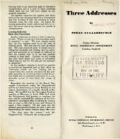 Three Addresses by Johan Nygaardsvold