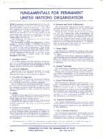 Fundamentals for Permanent United Nations Organization