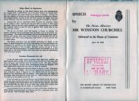 Speech Broadcast by the Prime Minister Mr. Winston Churchill Delivered in the House of Commons, June 18, 1940