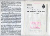 Speech Broadcast by the Prime Minister Mr. Winston Churchill, July 14, 1940