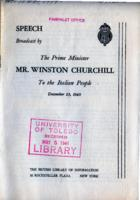 Speech Broadcast by the Prime Minister Mr. Winston Churchill to the Italian People, December 23, 1940