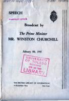 Speech Broadcast by the Prime Minister Mr. Winston Churchill, February 9, 1941