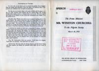 Speech by the Prime Minister Mr. Winston Churchill to the Pilgrim Society, March 18, 1941