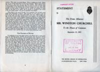 Statement by the Prime Minister Mr. Winston Churchill to the House of Commons, September 30, 1941