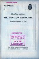 Speech Broadcast by the Prime Minister Mr. Winston Churchill, February 15, 1942
