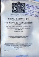 Final Report by the Right Honourable Sir Nevile Henderson